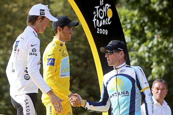 Contador ganó el Tour de Francia. Armstrong fue tercero