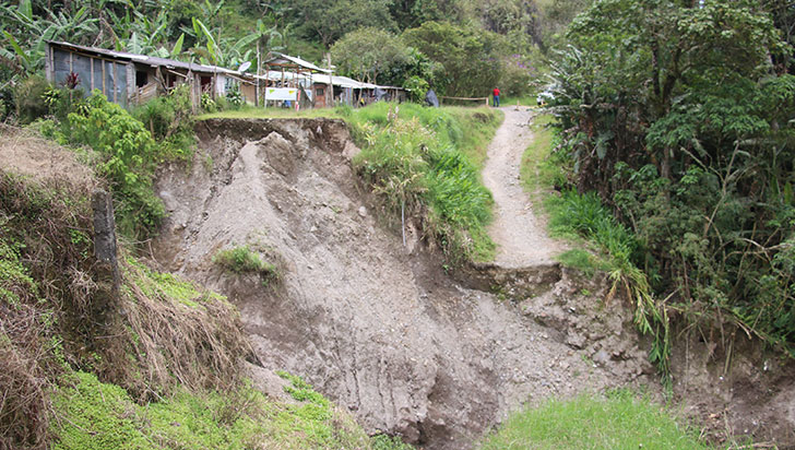 2 veredas en Salento bloqueadas por un derrumbe