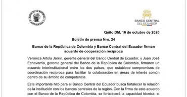 Entidades bancarias de Colombia y Ecuador  firman acuerdo de cooperación