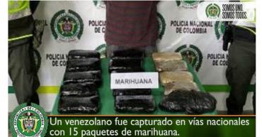 Ciudadano extranjero capturado con 15 paquetes de marihuana
