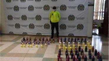 124 botellas de licor incautadas en Quindío