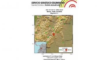 Entre Huila y Tolima, el epicentro del temblor que sacudió centro de Colombia
