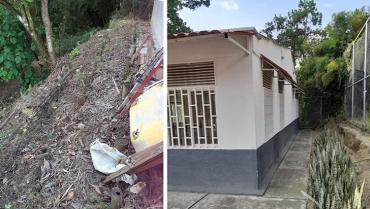 Talud amenaza la caseta comunal de Guaduales