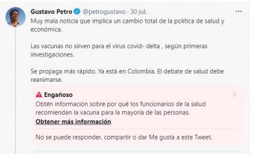 Twitter marca como engañoso tuit de Gustavo Petro sobre vacunas